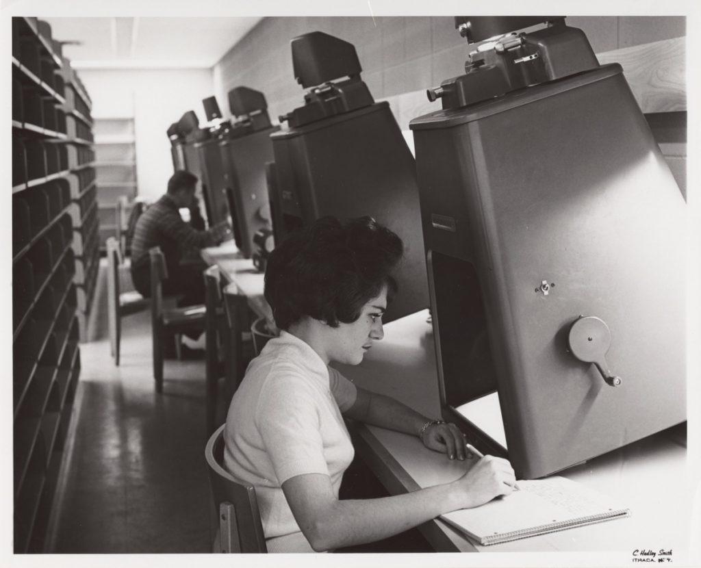 Microfilm Reader in Olin Library